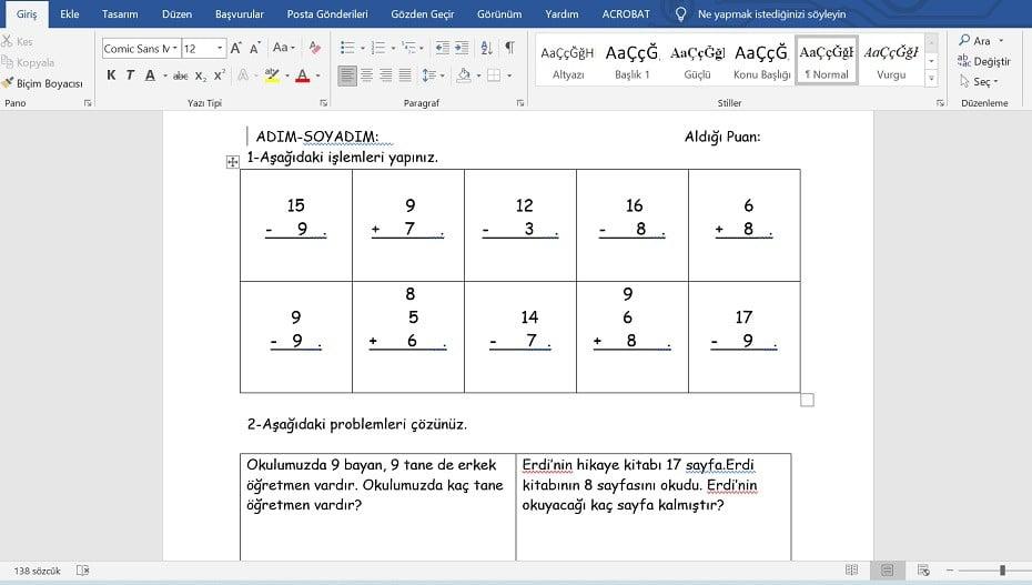 1. Sınıf Matematik Toplama İşlemi Çalışma Kağıtları