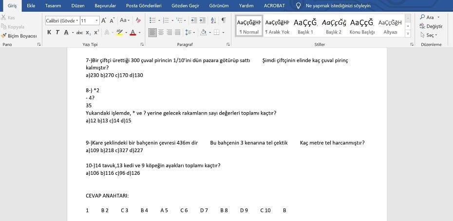 3. Sınıf Matematik Yazılı Soruları - Word - doc