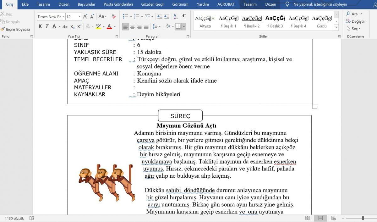 6. Sınıf Türkçe Dersi Etkinlik Örnekleri