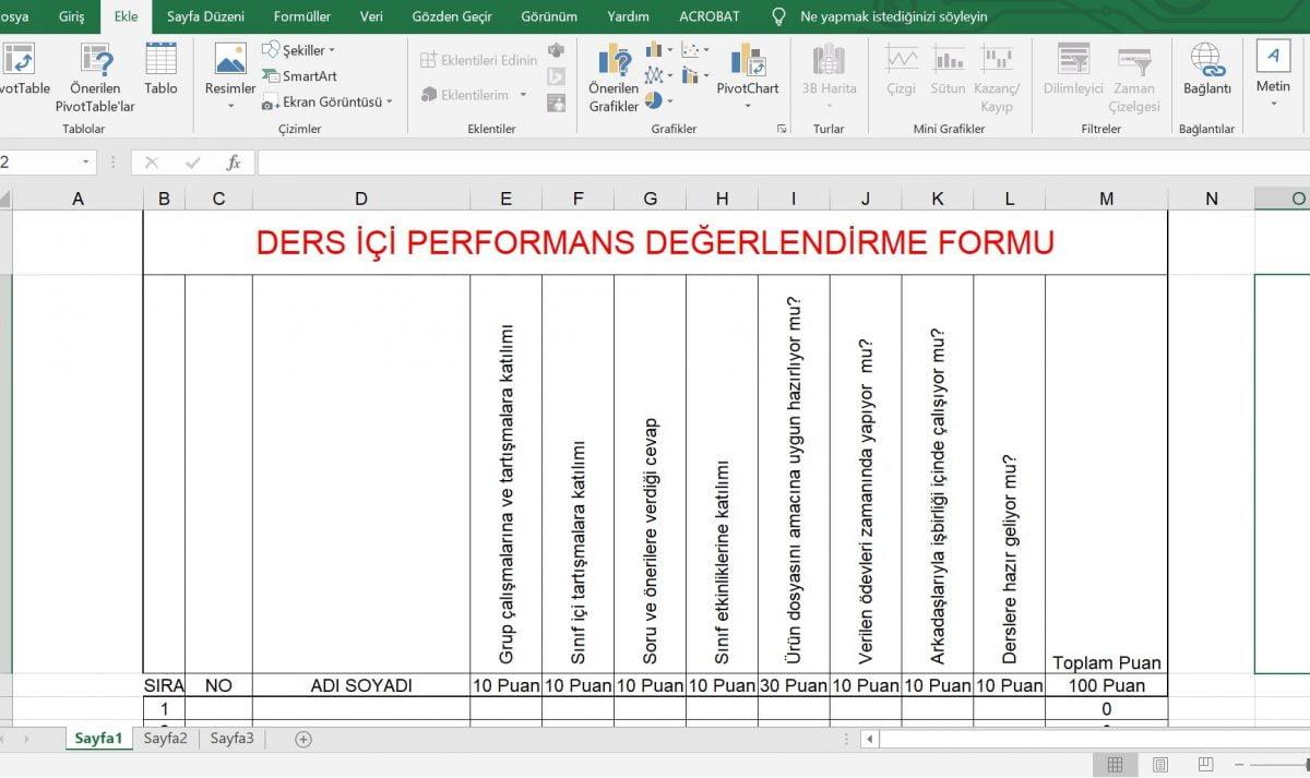 Ders İçi Performans Değerlendirme Formu - Excel Hesaplamalı