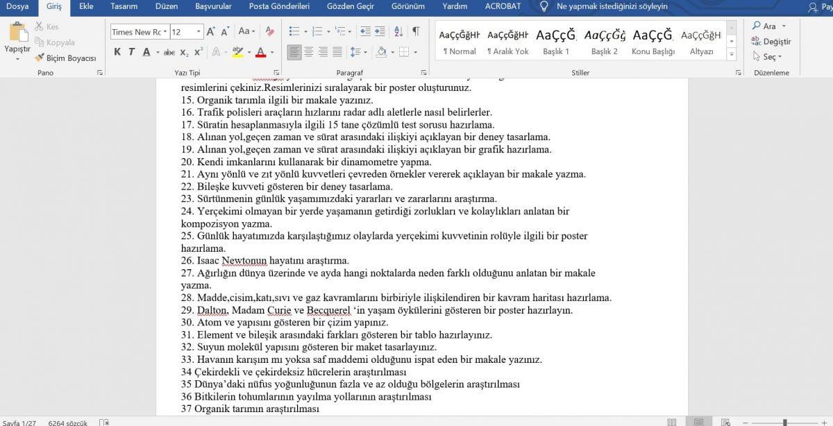 Fen Bilimleri Dersi Proje ve Performans Ödev Konuları