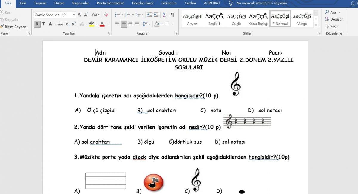 Müzik 2. Dönem 2. Yazılı Sınav Soruları