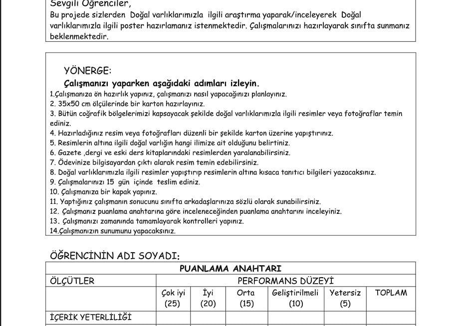 Sosyal Bilgiler Performans Ödevleri ve Proje Ödev Örnekleri – 5. Sınıf