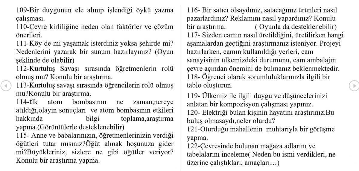 5. sınıf Türkçe Dersi Proje Ödevi Ve Performans Ödevleri Örnekleri