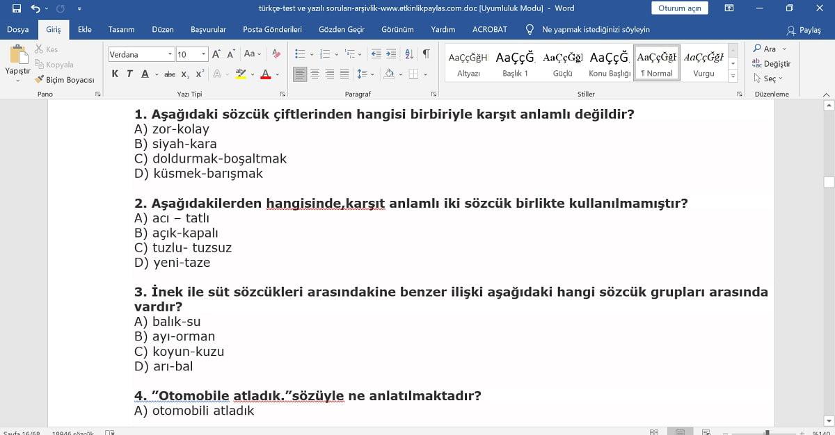 Türkçe Yazılı ve Test Soruları (Metin Şeklinde)