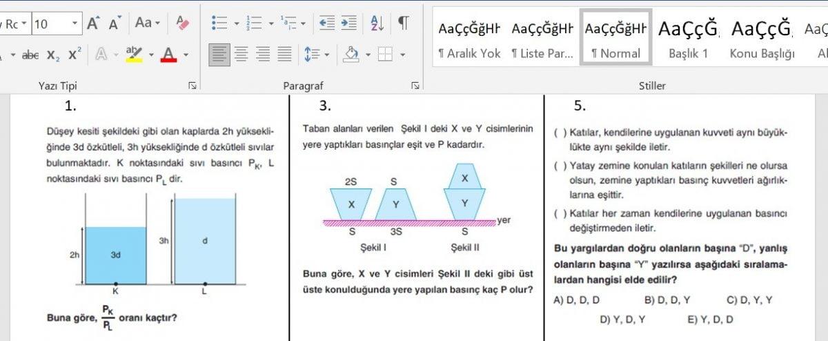 10. Sınıf Fizik 1. Dönem Yazılı Sınav Soruları - Yüz Yüze Ocak 2021 - word