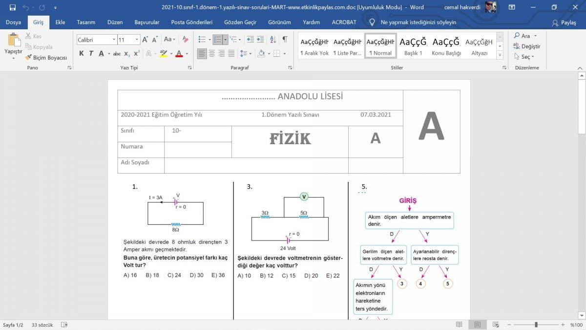 10. Sınıf Fizik 1. Dönem 1. Yazılı Sınav Soruları - 2021 MART - word