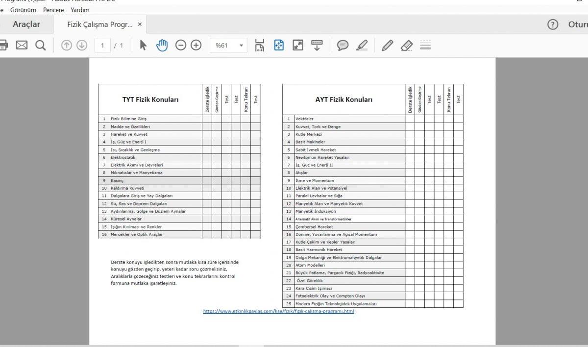 Fizik Çalışma Programı - TYT ve AYT - PDF
