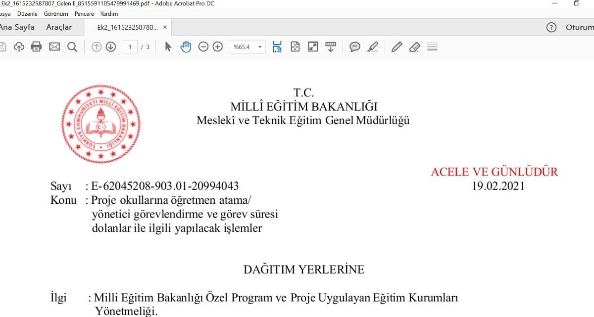 Proje Okullarına Öğretmen ve Yönetici Atama Sonuçları