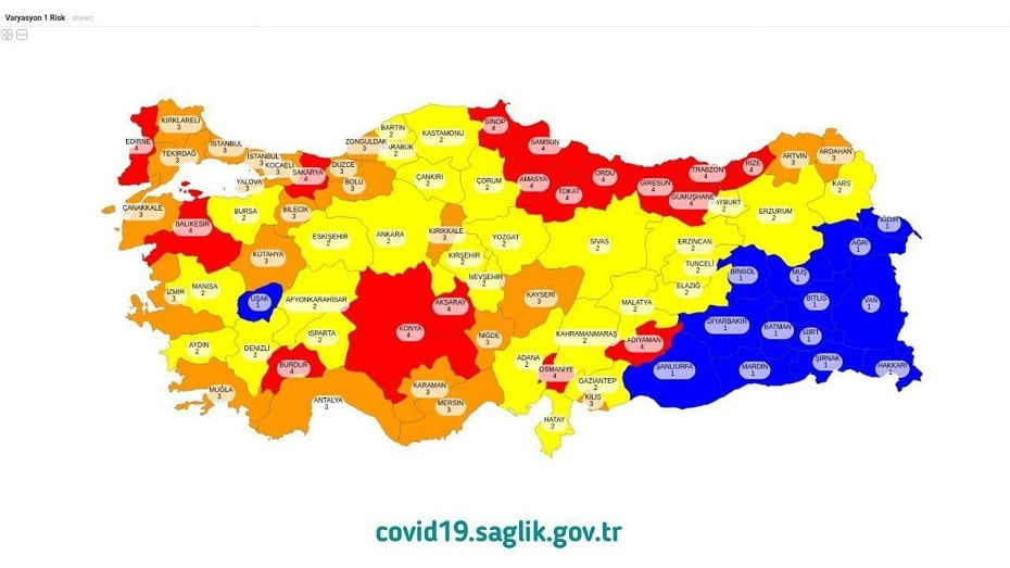 covid-19 iller risk haritası