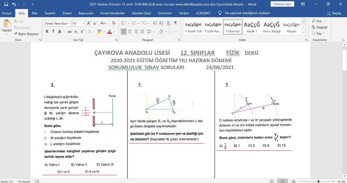 12. Sınıf Fizik Dersi Sorumluluk Sınav Soruları - Haziran - 2021