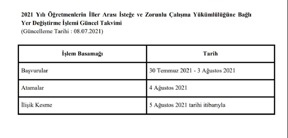 2021 Öğretmen İller Arası Atama ve Yer Değiştirme Takvimi